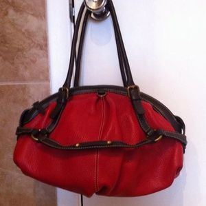 Guy LaRoche Red Brown Leather Handbag